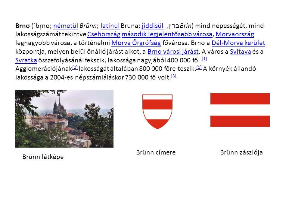 Brno (ˈbr̩no; németül Brünn; latinul Bruna; jiddisül ברין, Brin) mind népességét, mind lakosságszámát tekintve Csehország második legjelentősebb városa, Morvaország legnagyobb városa, a történelmi Morva Őrgrófság fővárosa. Brno a Dél-Morva kerület központja, melyen belül önálló járást alkot, a Brno városi járást. A város a Svitava és a Svratka összefolyásánál fekszik, lakossága nagyjából 400 000 fő. [1] Agglomerációjának[2] lakosságát általában 800 000 főre teszik.[1] A környék állandó lakossága a 2004-es népszámláláskor 730 000 fő volt.[3]